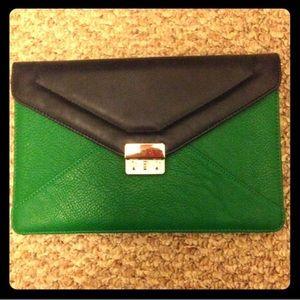 "Handbags - Green navy blue clutch8X12; gold chain strap 48""."